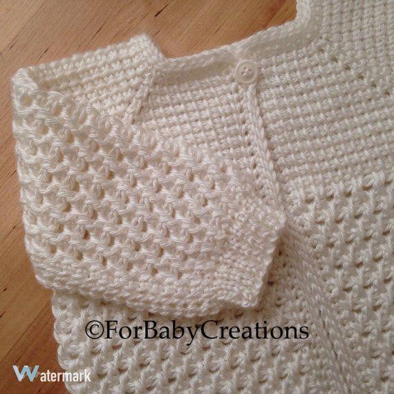 Crochet Baby Sweater - White - MADE TO ORDER - Tunisian Crochet ...