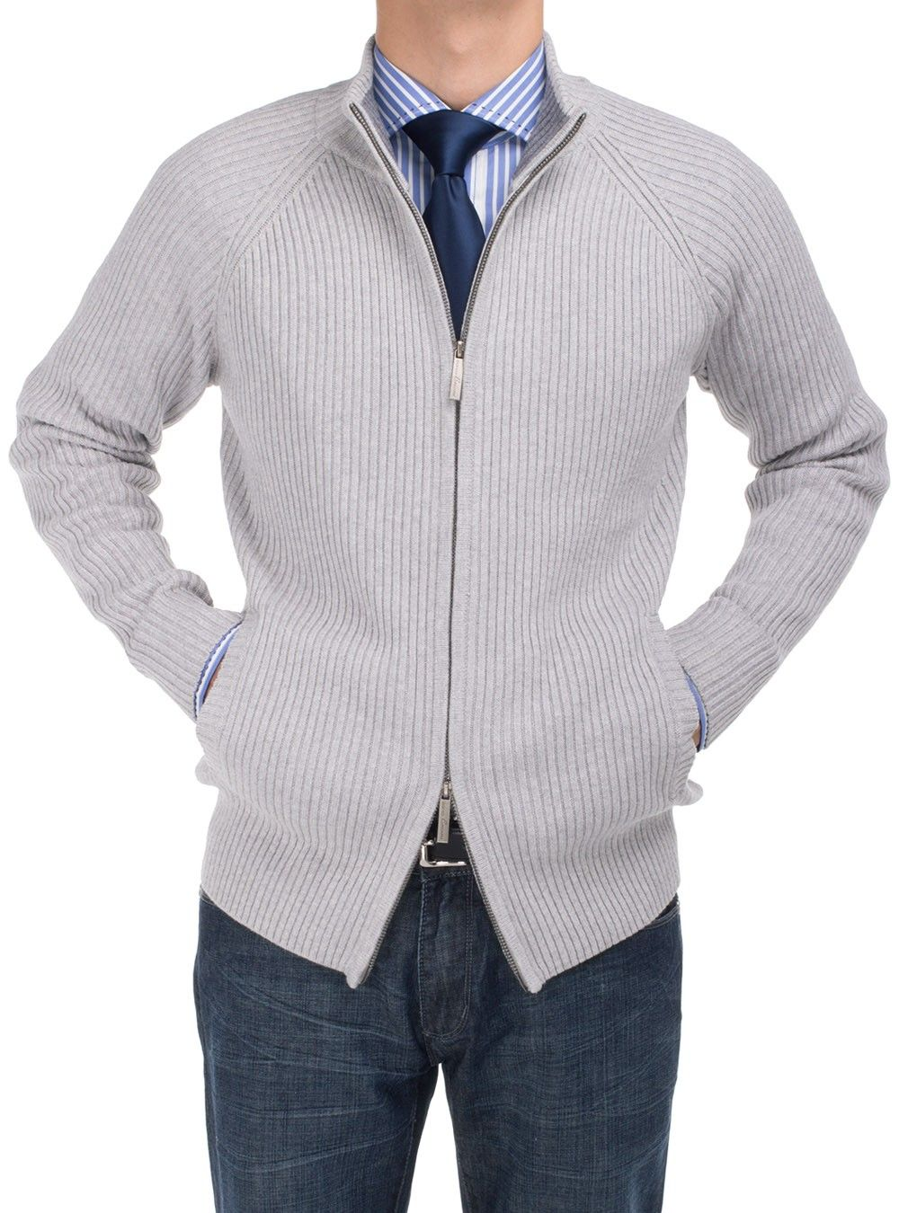Ribbed body and sleeve full zip Cardigan Sweater with a relaxed ...