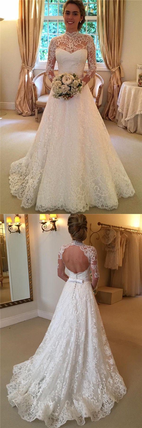 Elegant high neck long sleeves open back long lace wedding dress