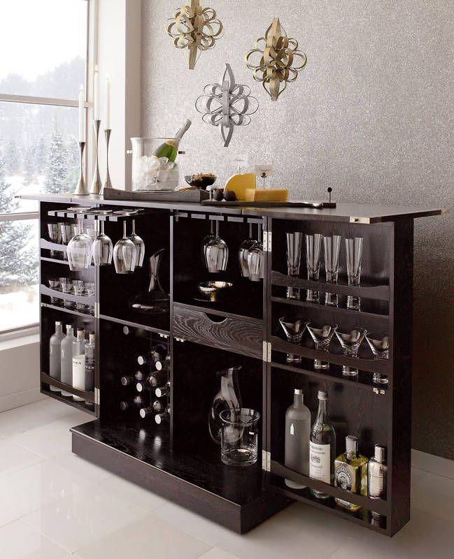 NEW Steamer Folding Wine Liquor Bar Cabinet in Black | Liquor ...