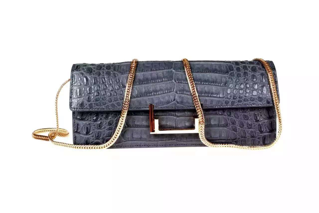 Genuine Crocodile Leather Clutch With Chain Shoulder Strap For Women