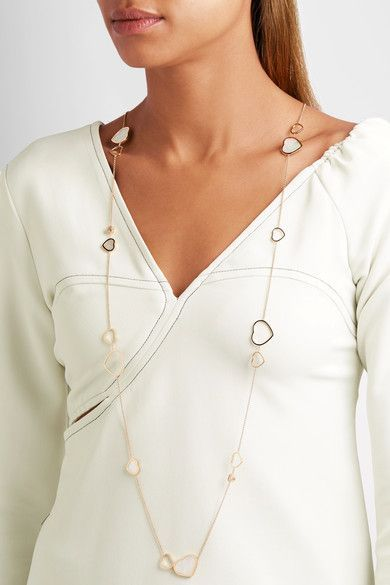 714a8d0c2ee6e5 Chopard - Happy Hearts 18-karat Rose Gold, Diamond And Mother-of-pearl  Necklace