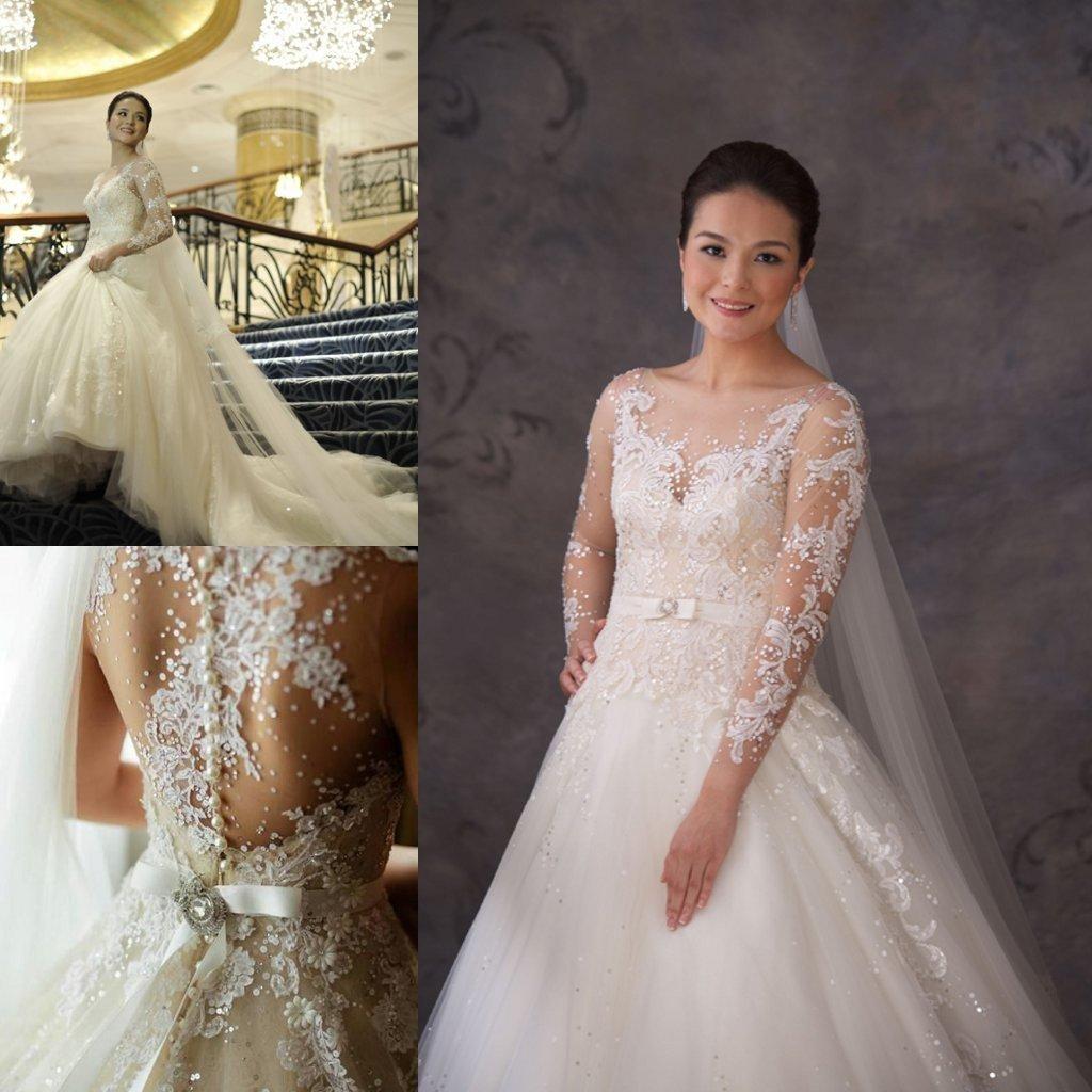 2014 Veluz y Long Sleeve Lace Sheer Wedding Dresses A