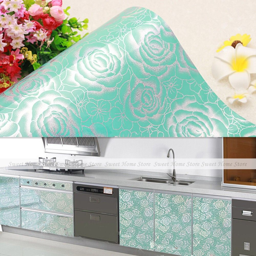 Yazi Gloss Blue Peony Self Adhesive Kitchen Cupboard Door Cover Contact Paper Wallpaper 61x500 Cm In Wall Stickers From Home Garden On Armario Cozinha Cozinha