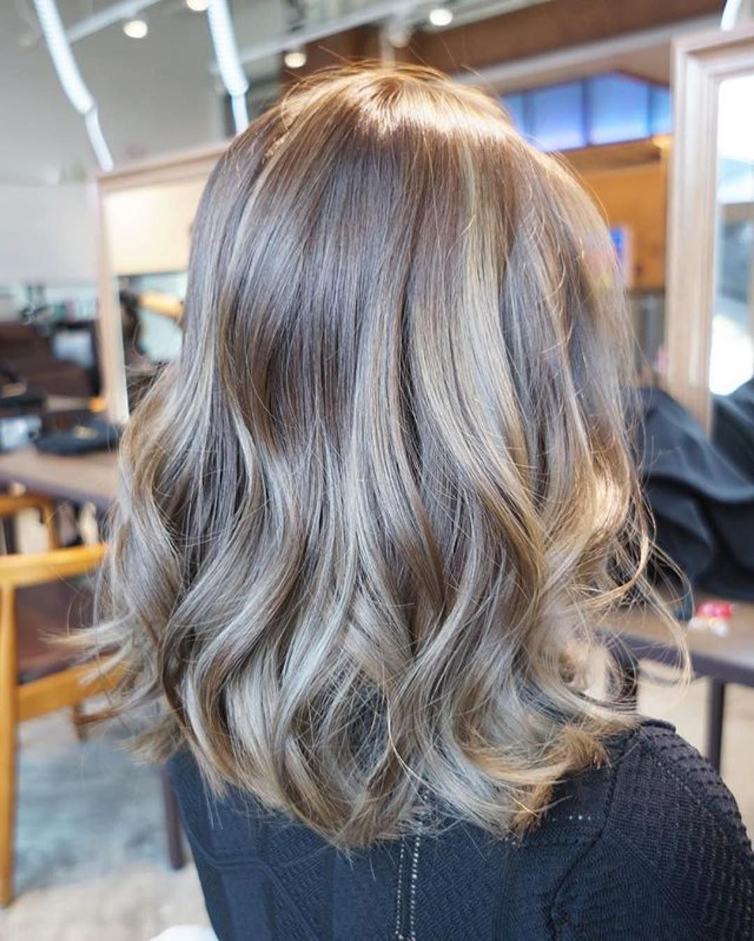 Happy Monday Natural Beige Grey Hair Color In Balayage Style