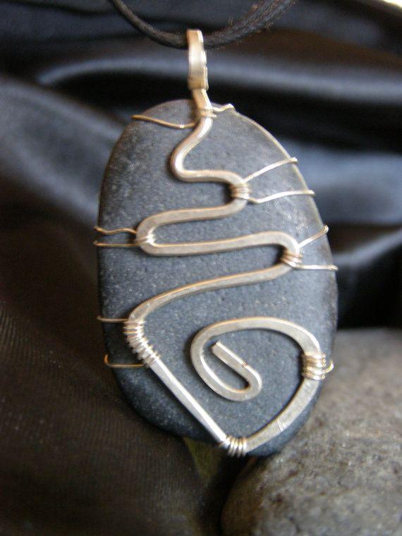 Natural Beach stone silver sun design wire wrap handmade ...