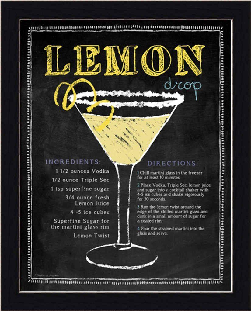 Lemon Drop By Stephanie Marrott Martini Recipe Chalkboard Sign Framed Art Print Picture Wall Decor