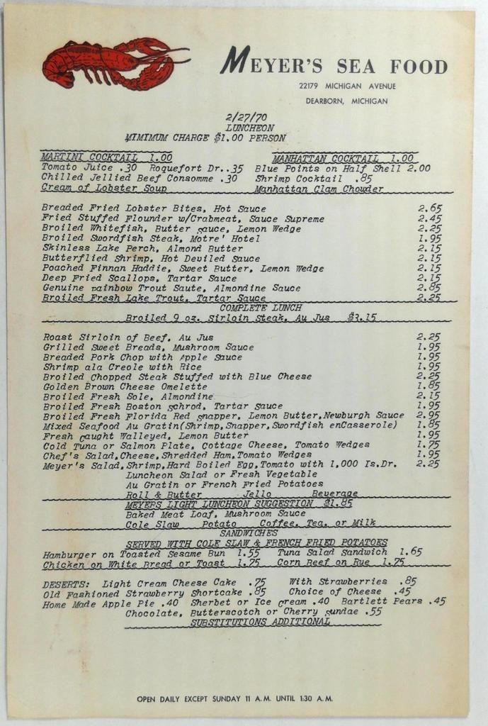 1970 Original Menu MEYER'S SEA FOOD Restaurant Dearborn