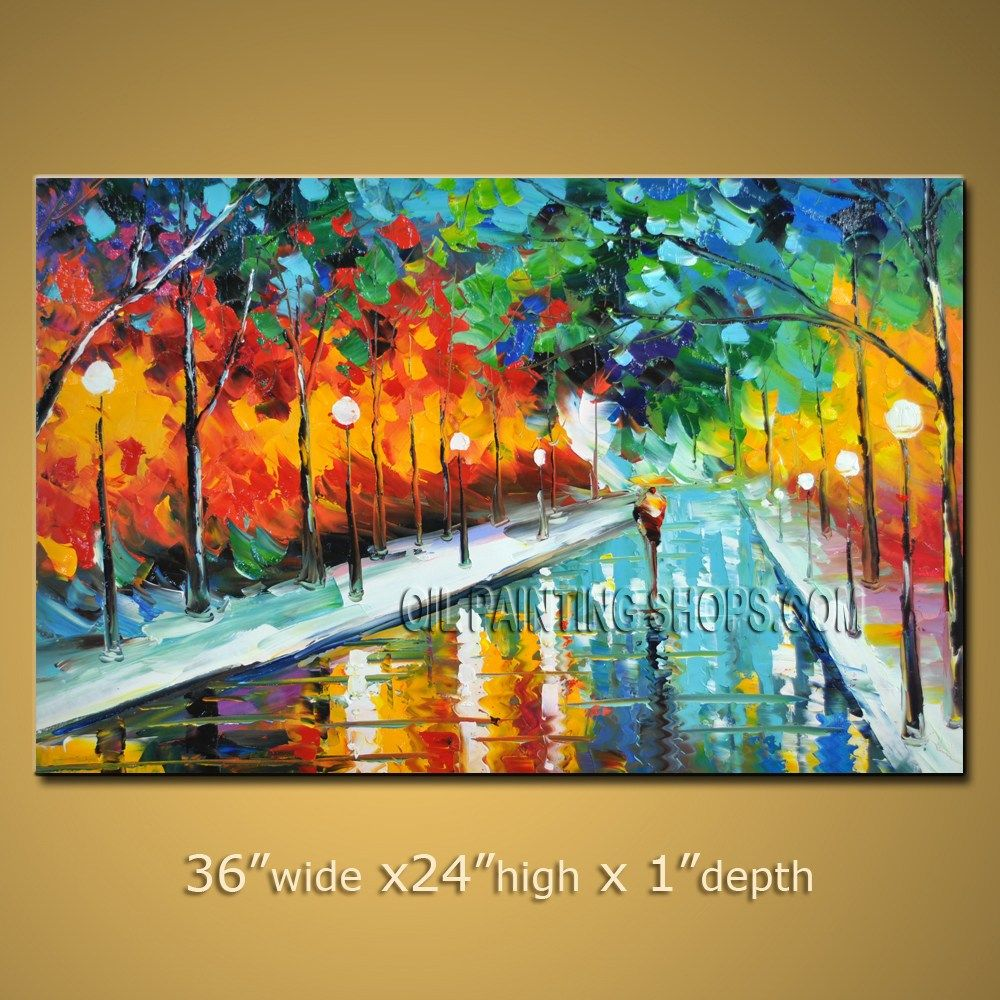 Colorful large wall art for office decor impressionist palette knife