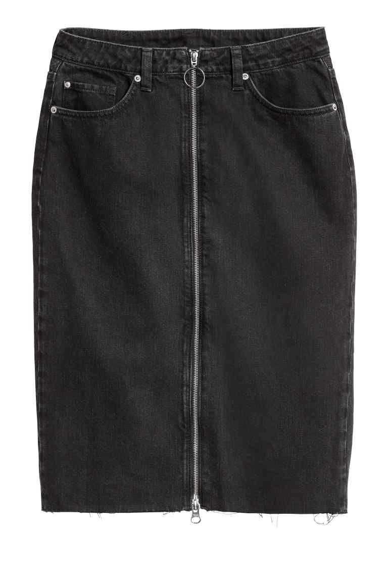 7ee242b0dcd910 Zip-front denim skirt in 2019 | Things to Wear | Denim skirt, Skirts ...
