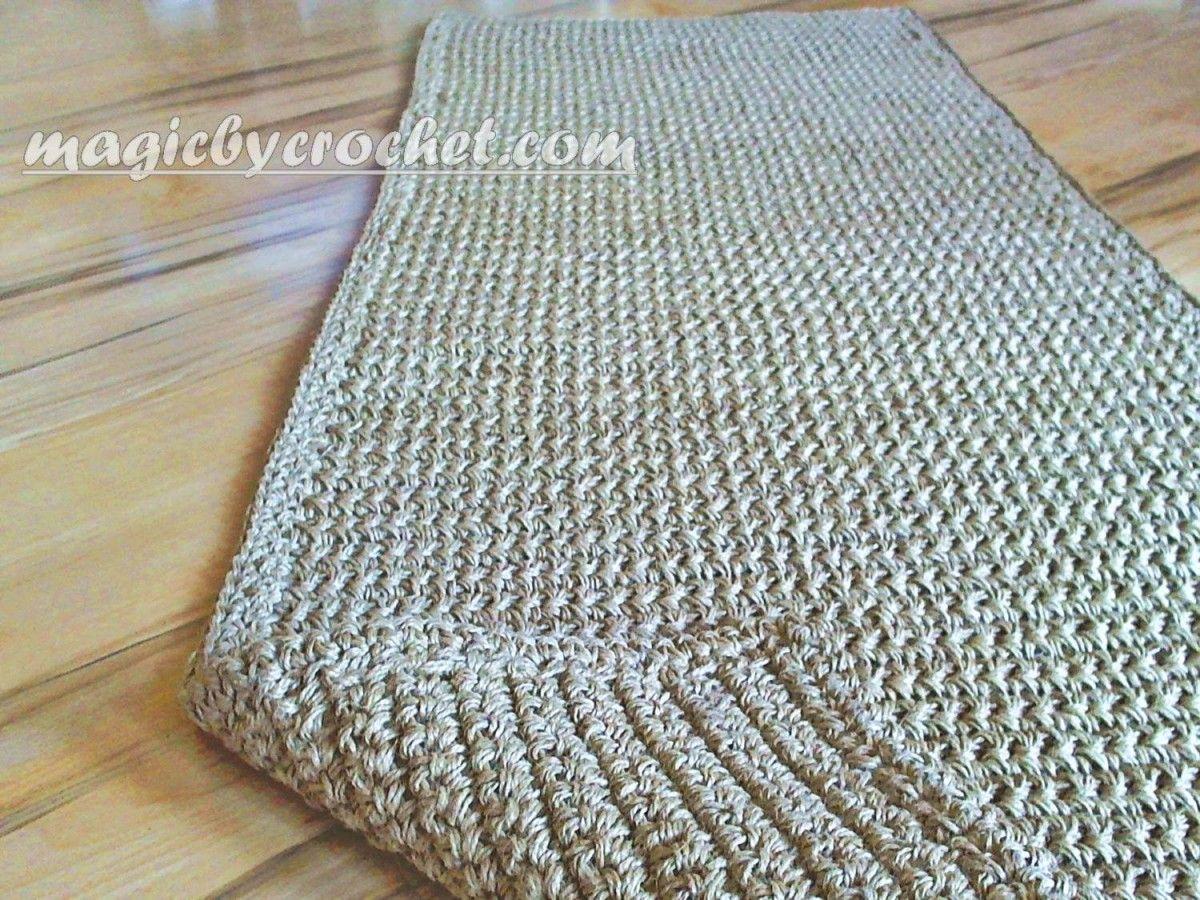 Extra Long Hallway Runner Rug Handmade Jute Crochet No 032