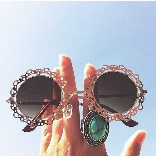 Round Retro Lace Sunglasses - Gold - Izzy California   - 1