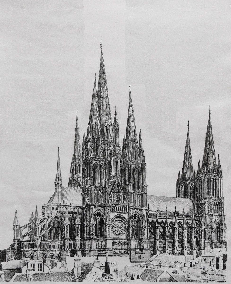 Kathedralen Frankreichs Architekturcollage Architektur Collage Kathedrale Architekturzeichnung