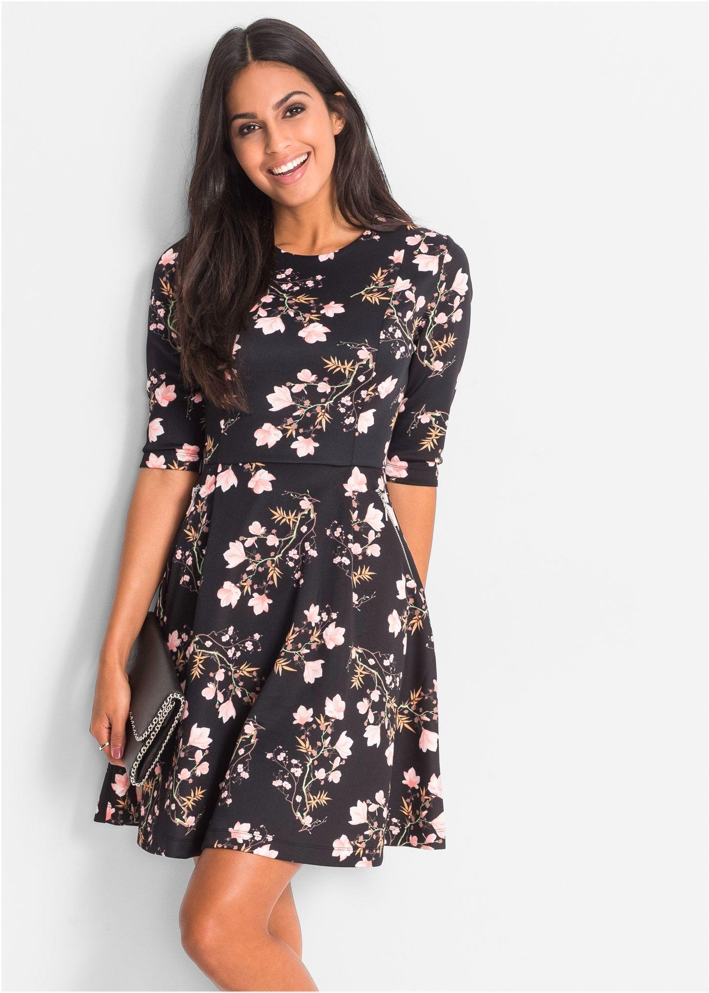 990a74dd1164cb Scuba-Kleid schwarz geblümt - BODYFLIRT jetzt im Online Shop von bonprix.de  ab   29