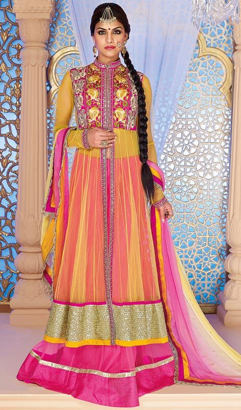 Marvelous Bridal Net Embroidered Sharara Suit Price: Usa Dollar $135, British UK Pound £80, Euro100, Canada CA$147 , Indian Rs7290.