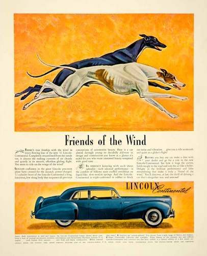 1941 Ad Lincoln Continental Car Blue Automobile Greyhound Racing Dog