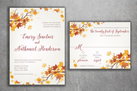 Autumn wedding invitation set fall wedding invitation september cheap unique wedding invite set cheap wedding by filmwisefo
