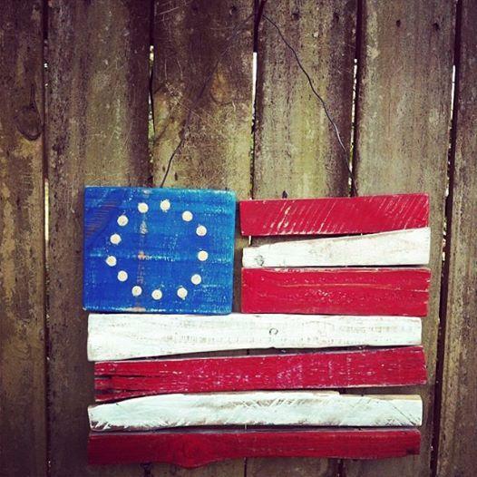 Rustic Reclaimed Americana Flag Hanger - Spring/Summer garden/home decor, pallet wood, folk art