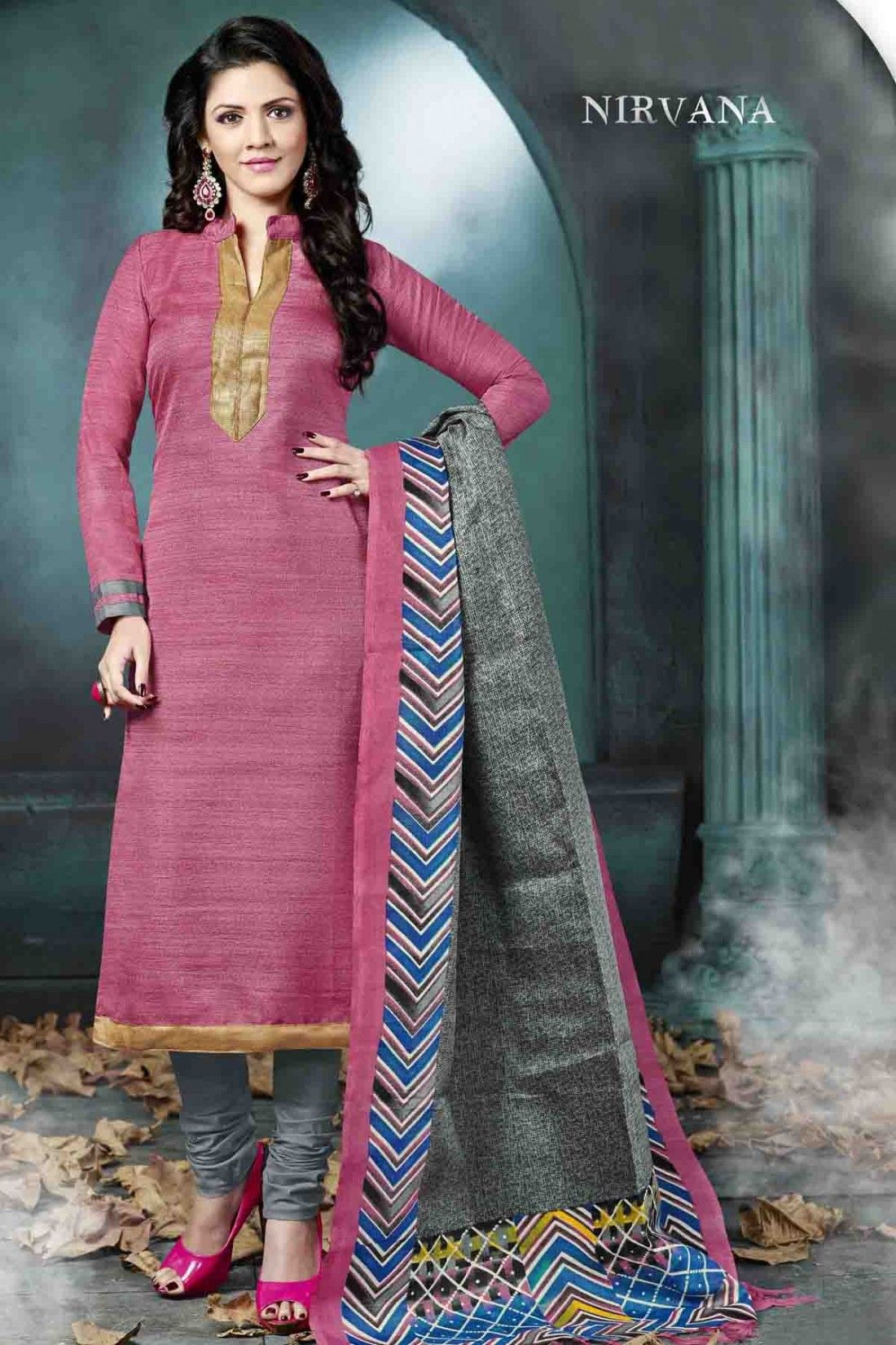 Pink Bhagalpuri Silk Salwar Kameez with Printed and Lace Work ...