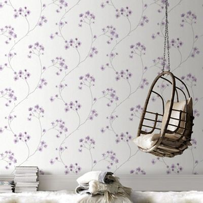 Superfresco Easy White Lavender Radiance Delicate Floral Wallpaper