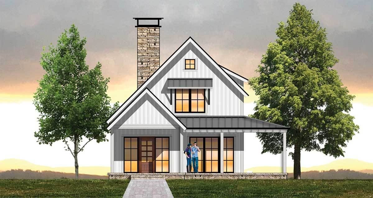 Plan 18853ck Cozy Farmhouse Plan With Upstairs Loft Farmhouse Plans Small Farmhouse Plans Saltbox Houses