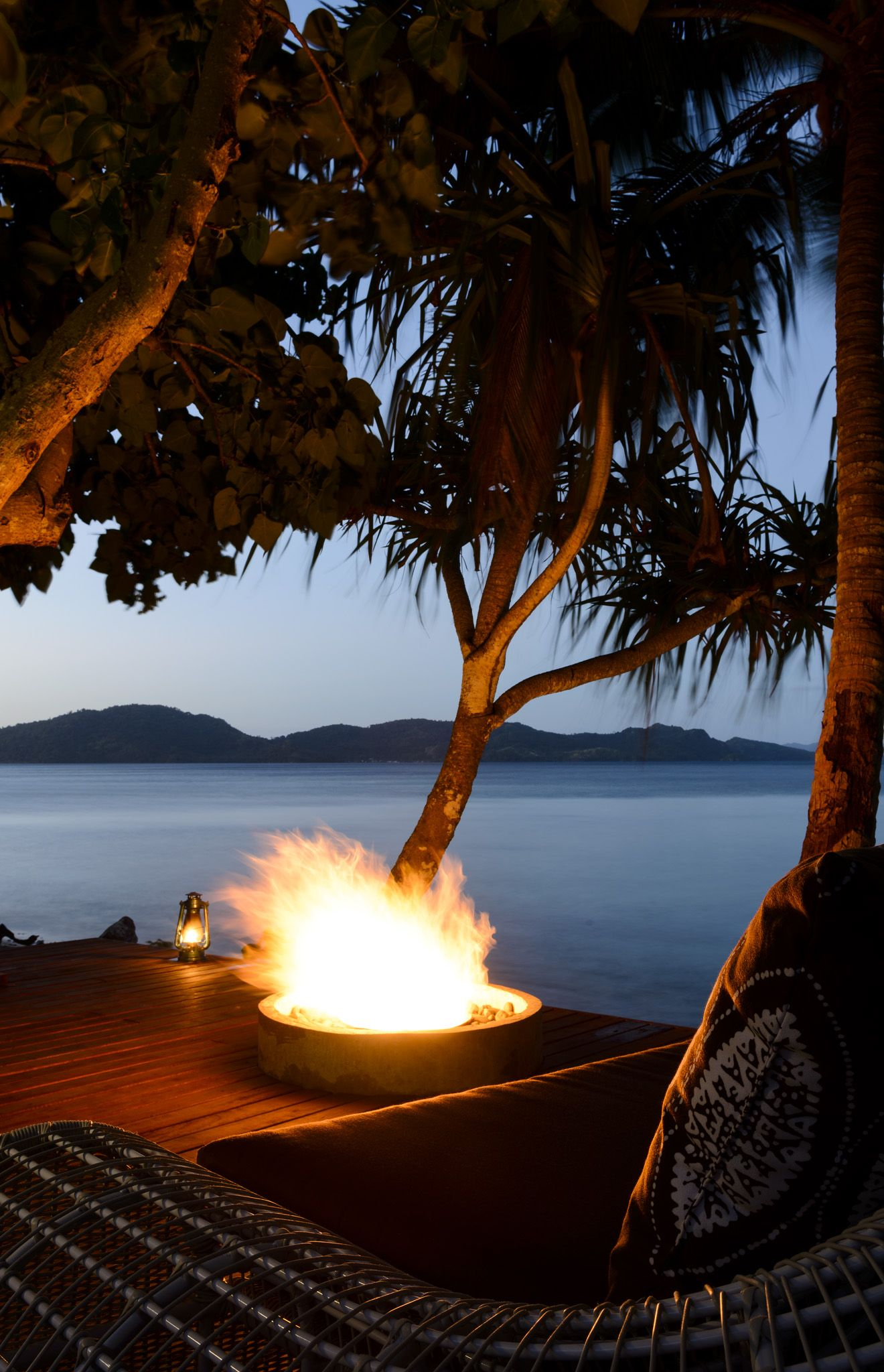 Fire pit on the waterfront at The Remote Resort #Fiji #Resort
