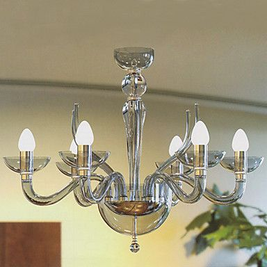 Modern Acrylic Chandeliers with 6 Lights Candle Featured – GBP £ 110.39