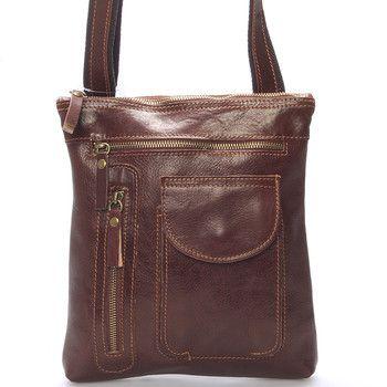 3390a5980d Kožená taška přes rameno světle hnědá - ItalY Saber