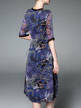 Vintage Dragon Shift  Midi Dress