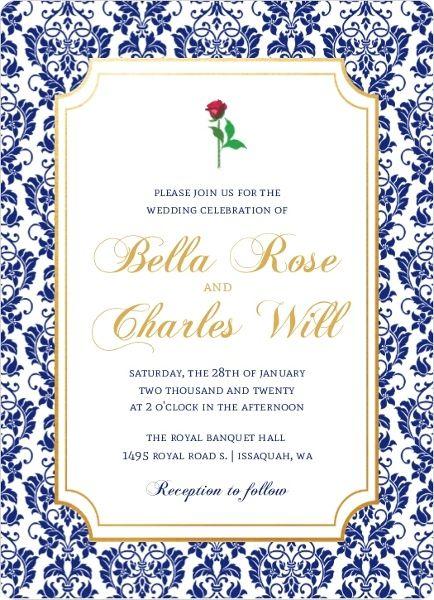 Royal Blue Damask Frame Wedding Invitation From Purpletrail Damaskweddinginvitations Wedding Invitations Wedding Frames Wedding Invitation Size