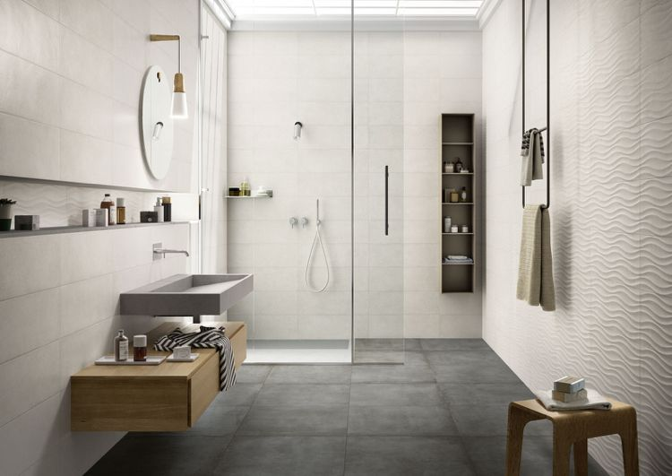 Badezimmer in hellen neutralen Farben - graue Bodenfliesen 60 x 60 - badezimmer 60 cm