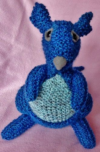 Cute and Cuddly Hand Knit Blue Kangaroo Plush Stuffed Animal Toy