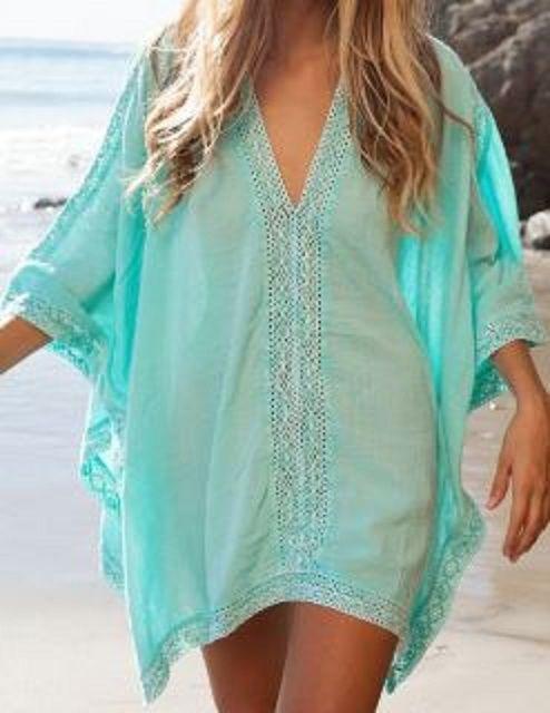 Love this Color! So Pretty! Aqua Blue Stylish Plunging Neck Spliced 3/4 Sleeve Beach Cover-Up #Aqua #Blue #Lace #Beach #CoverUp #Summer #Fashion