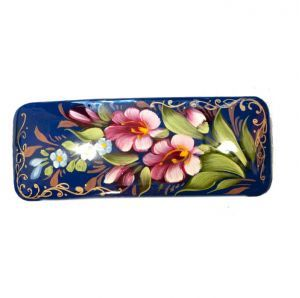 Hairslide Flowers on Blue - Russian Hand-Painted Barretts - Barrettes for Hair