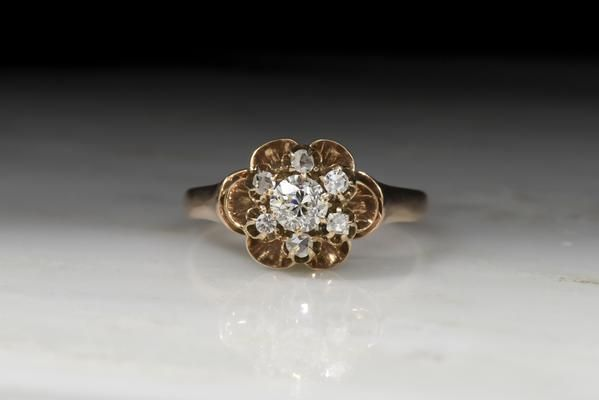 Victorian Old European Cut Diamond Buttercup Cluster Engagement Ring