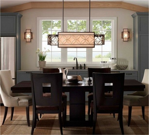 Modern Decor For Dining Room With Chandelier Light Above