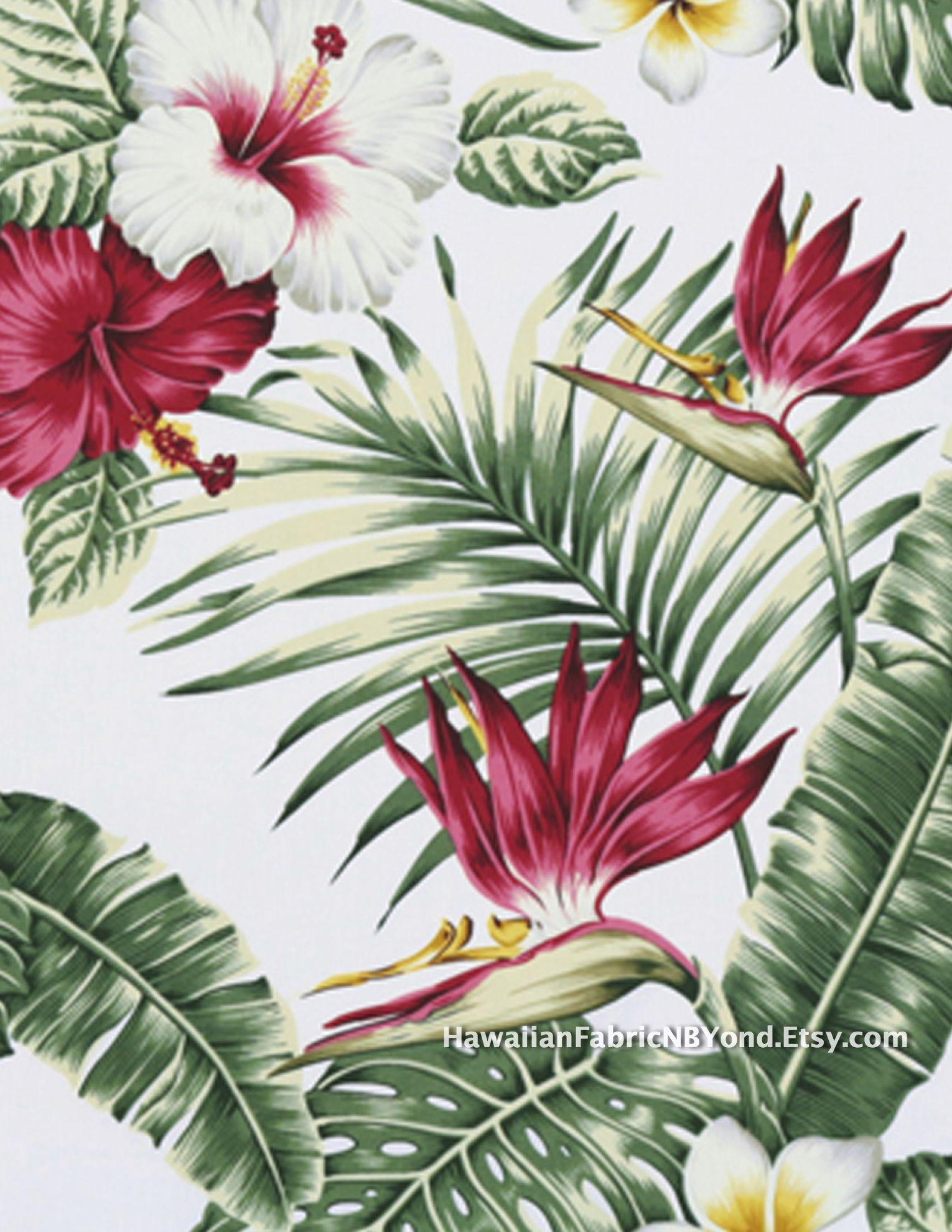 Tropical Fl Fabric Beautiful Hawaiian Print Cotton Sold By The Yard At Hawaiianfabricnbyond Etsy