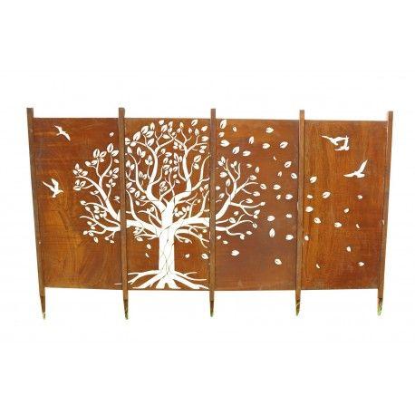 Edelrost Paravent Sichtschutz Wand Baum als Set rostig