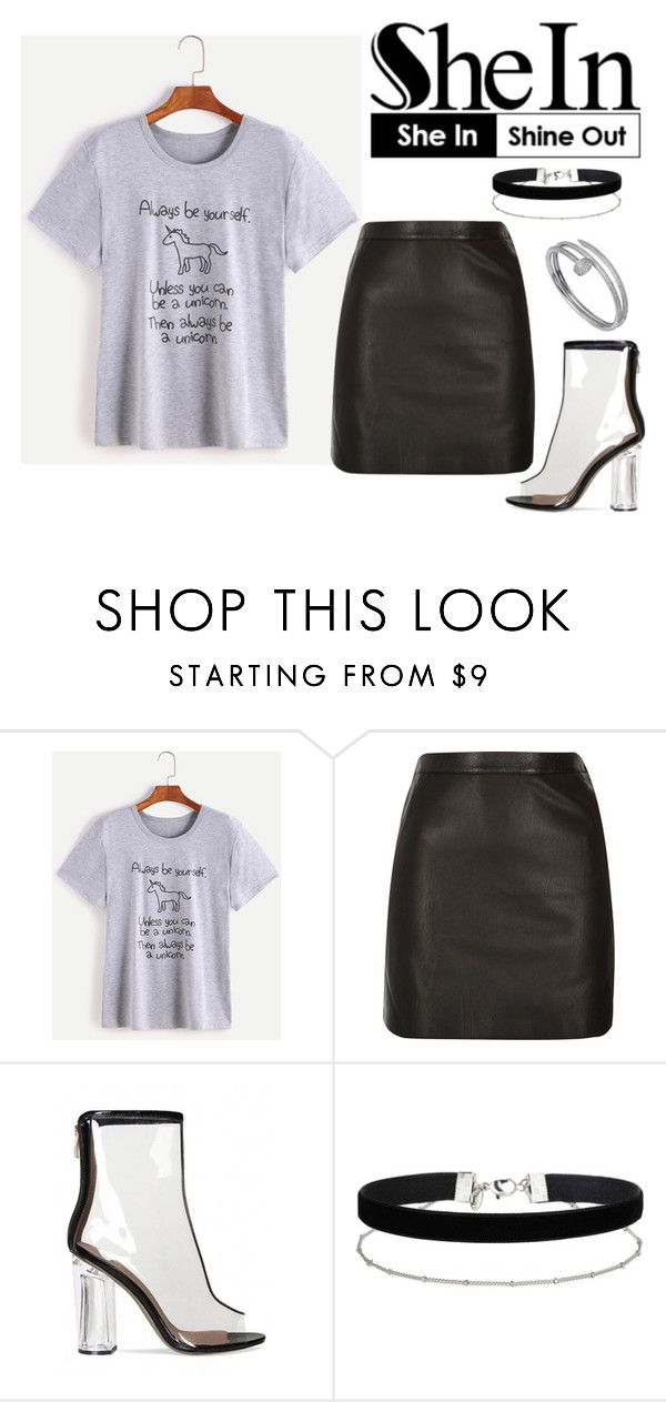 """#Heather T-shirt"" by karinelechka ❤ liked on Polyvore featuring River Island, Miss Selfridge and Cartier"