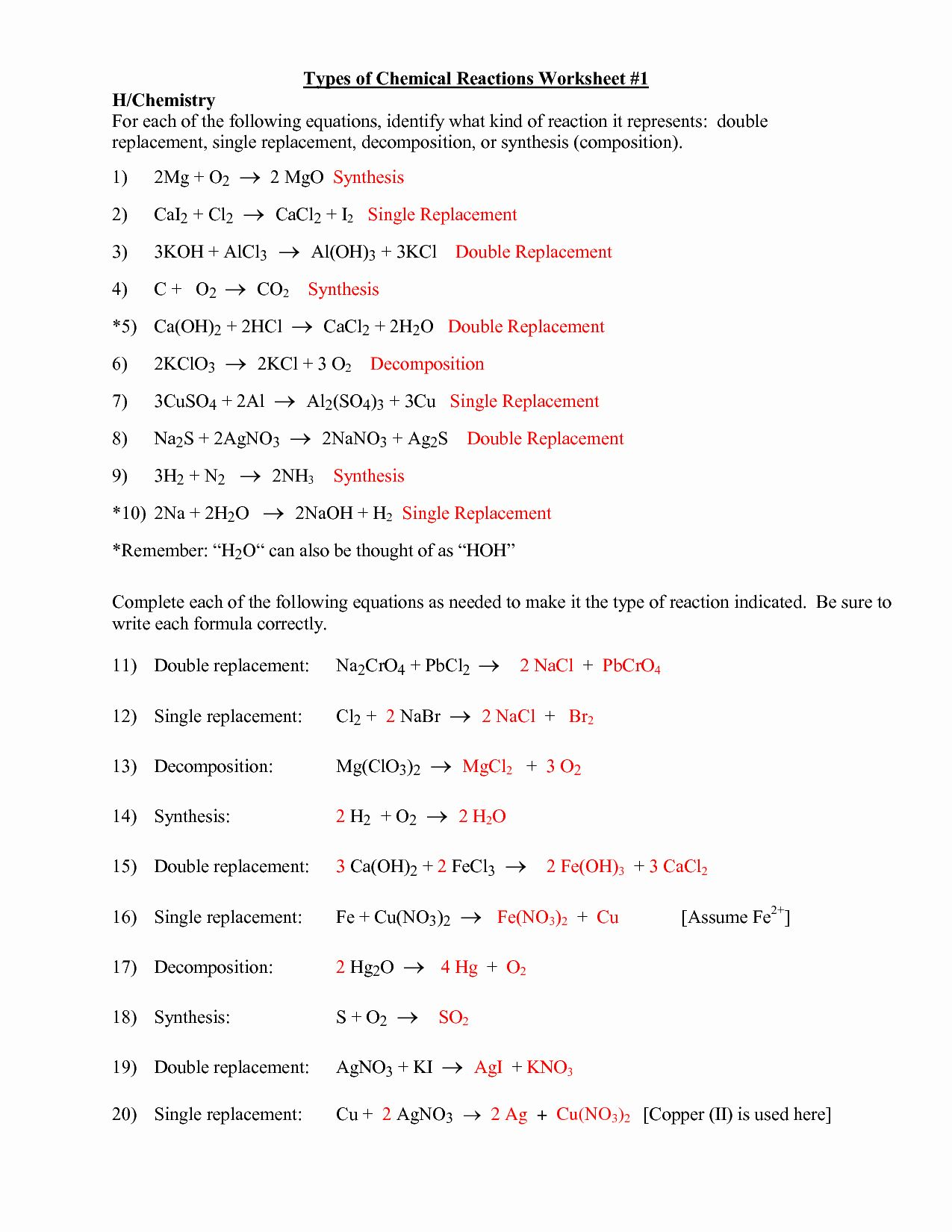 50 Classifying Chemical Reactions Worksheet Answers In