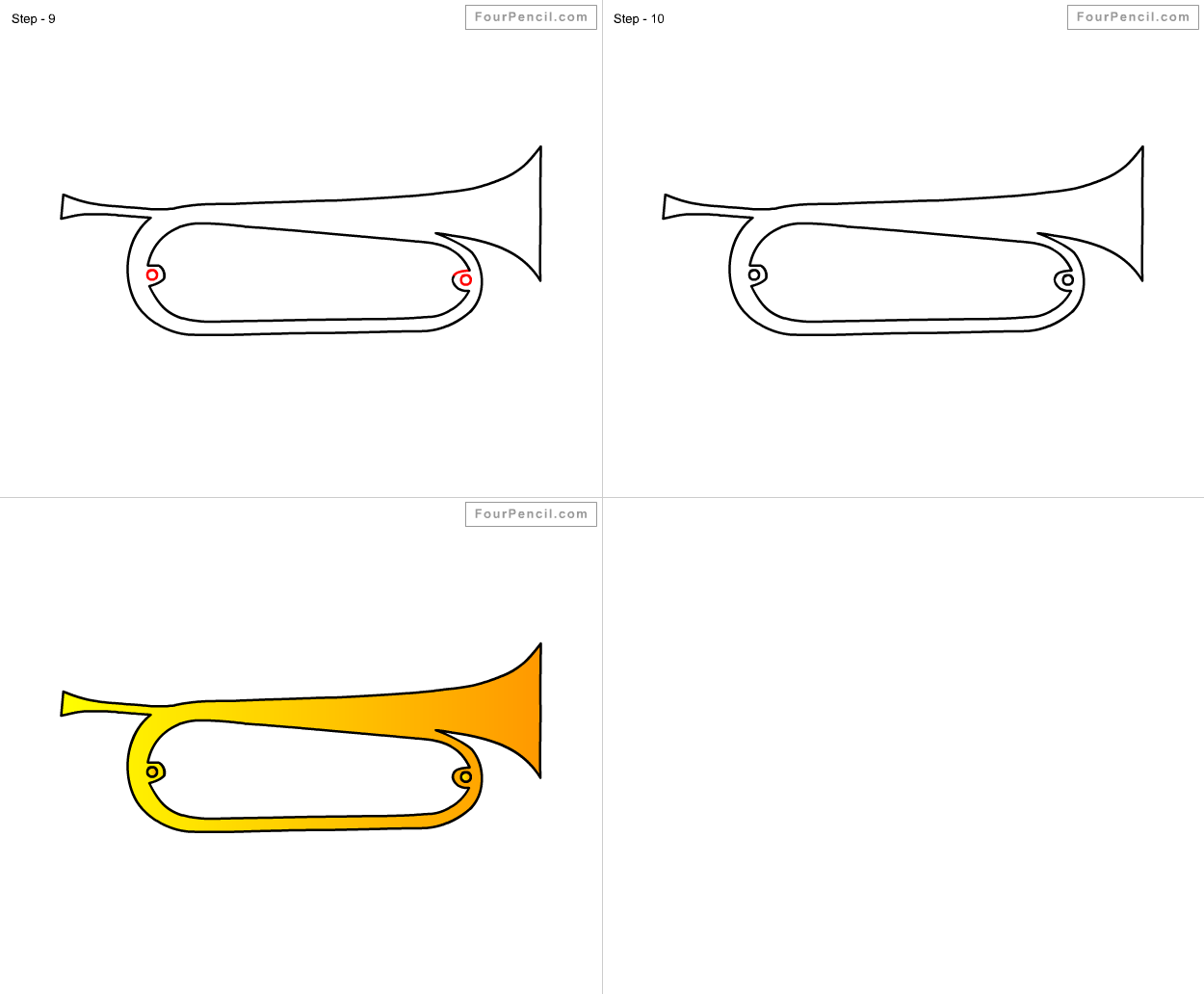How To Draw Trumpet For Kids Step By Step Drawing Drawing For Kids Drawing Tutorials For Kids