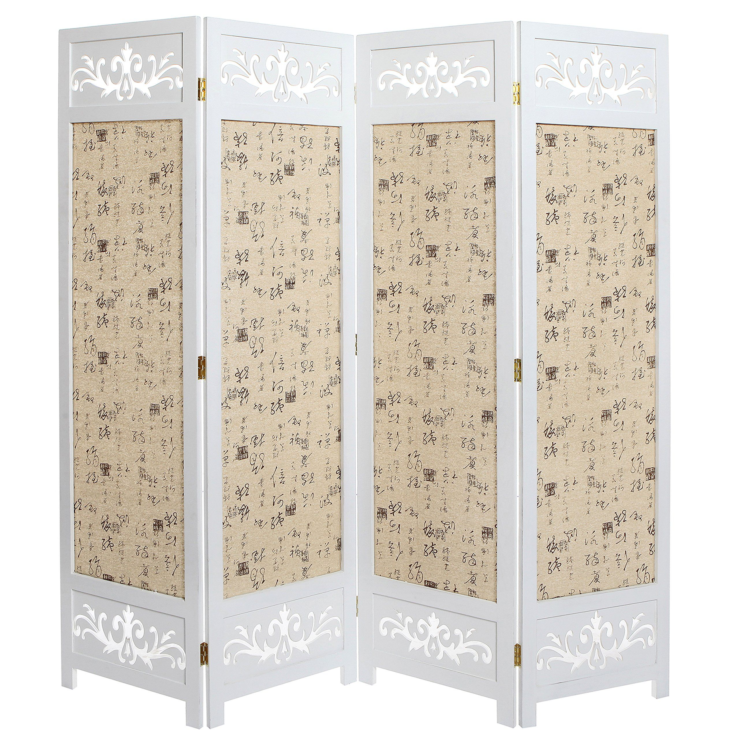 Indoor Privacy Screen Living Room Furniture Modern Furnitures Asian Oriental Design Large White Beige Wooden 4 Panel Folding Divider