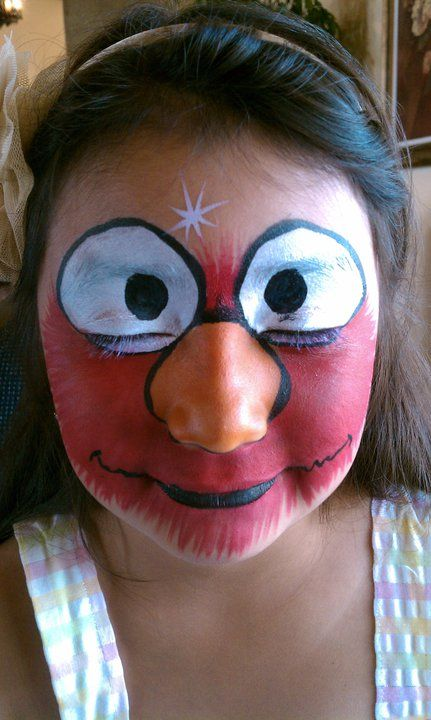 Elmo Face Painting By Okidoki Face Painting Www Okidokifacepainting Com Face Painting Face Body Painting