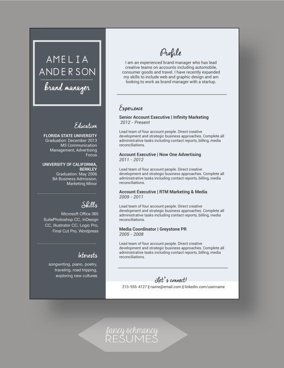 Resume Template  The Audrey  Modern Resume Design  Instant Ms