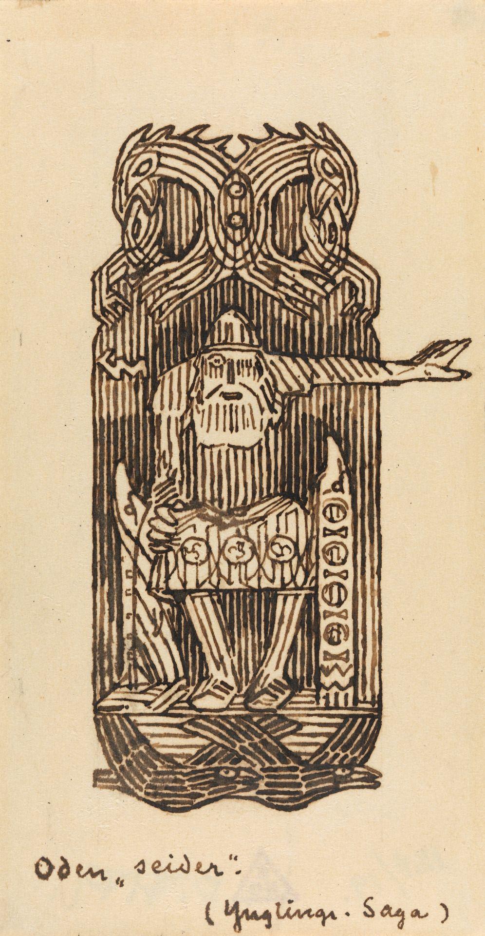 """Odin øver seid"" by Gerhard Munthe"