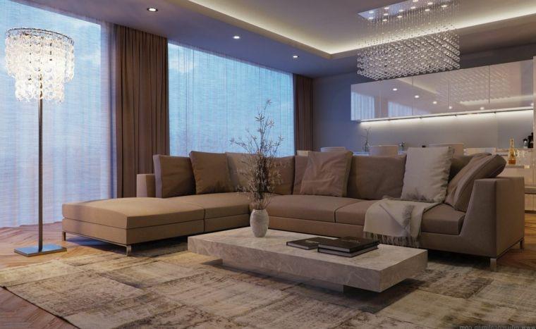 Tende Per Interni Color Tortora : Ampio e moderno salotto arredato con un divano angolare e tende