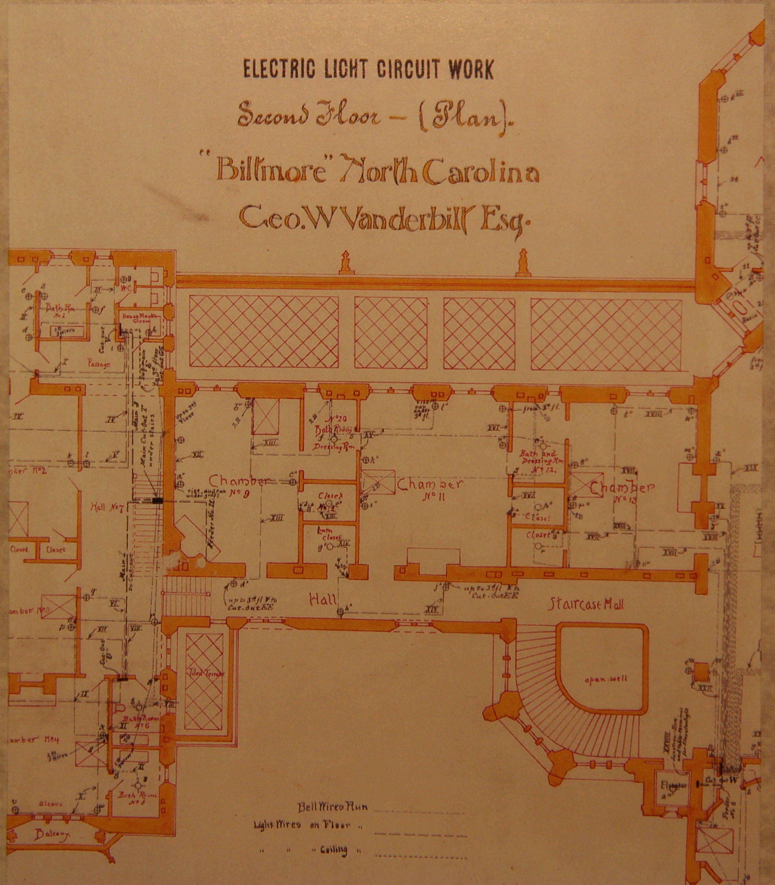 Biltmore House 2nd Floor Blueprint Floorplan Biltmore House Biltmore Estate Biltmore Estate Asheville