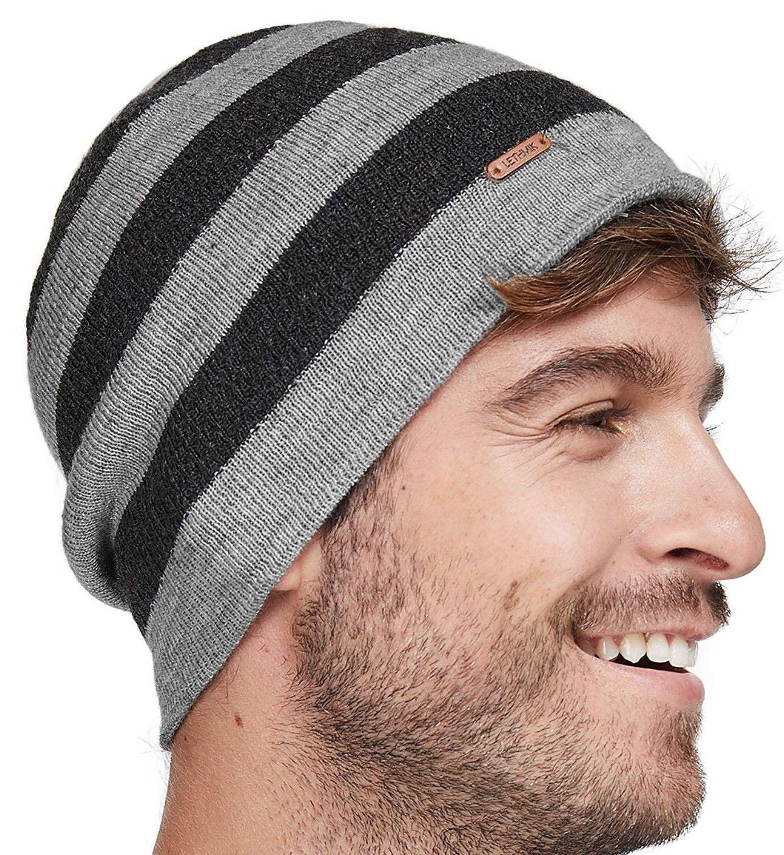c86511c408b Fleece Lined Beanie Hat Mens Winter Solid Color Warm Knit Ski Skull ...