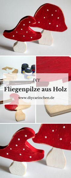 DIY Fliegenpilze aus Holz - gartendekoration aus holz