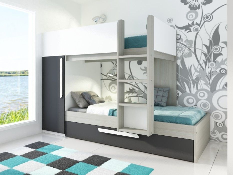 Cama litera con cajón cama nido ANTONIO - 2x90x190 cm - Armario ...